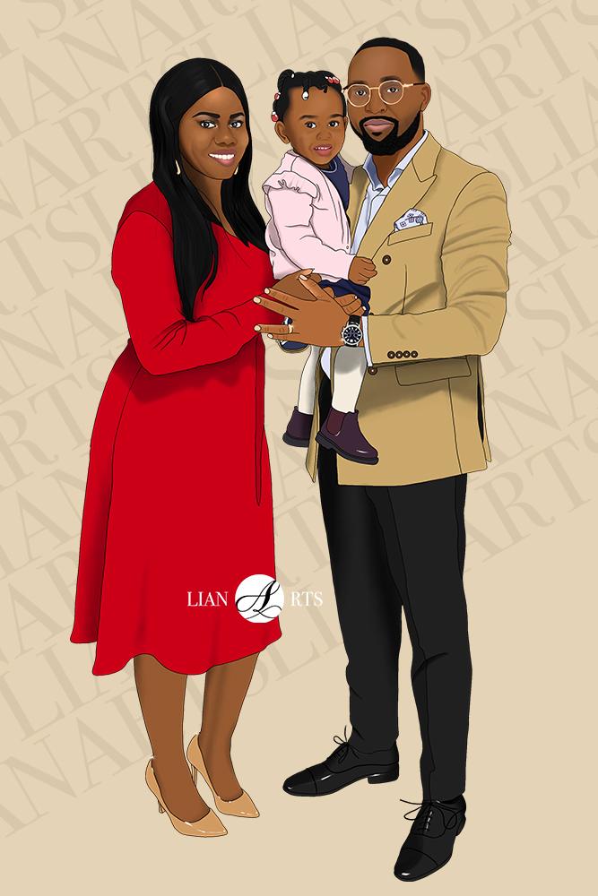 Illustration de Portrait LianArts - Famille Mayabel